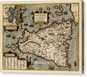 Map Of Sicily 1584 Canvas Print