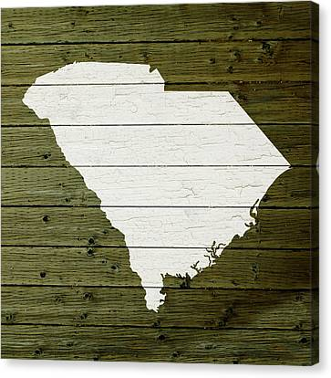 Map Of South Carolina State Outline White Distressed Paint On Reclaimed Wood Planks Canvas Print by Design Turnpike