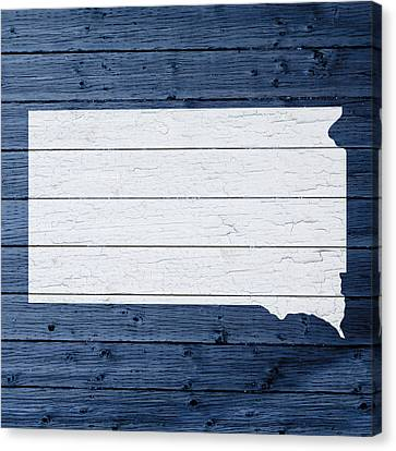 Map Of South Dakota State Outline White Distressed Paint On Reclaimed Wood Planks Canvas Print