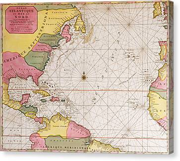 Map Of The Atlantic Ocean Showing The East Coast Of North America The Caribbean And Central America Canvas Print by French School