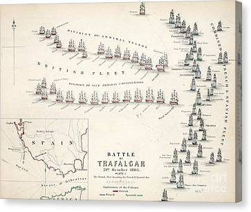 Map Of The Battle Of Trafalgar Canvas Print by Alexander Keith Johnson