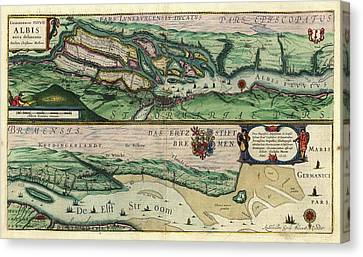 Map Of The Elbe River Canvas Print by Library Of Congress, Geography And Map Division