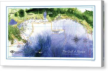 Map Of The Gulf Of Mexico Northern Coast Canvas Print by Paul Gaj