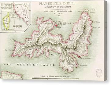 Map Of The Island Of Elba Canvas Print by Baron Louis Albert Bacler d'Albe