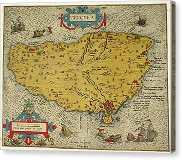 Map Of The Island Of Tercera Canvas Print by British Library