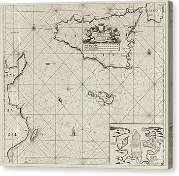 Map Of The Islands Of Sicily And Malta And Part Canvas Print by Anonymous And Johannes Van Keulen I