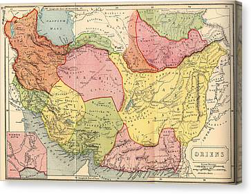 Map Of The Middle East 1907 Canvas Print by Mountain Dreams