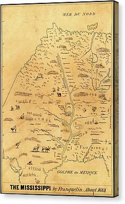 Map Of The Mississippi River Canvas Print