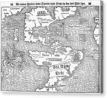 Map Of The New World, 1544 Canvas Print by Granger