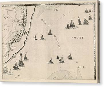 Map Of The North Sea And The Coast Of Holland Canvas Print