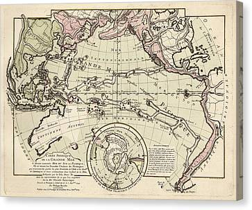 Map Of The Pacific Ocean Canvas Print by Library Of Congress, Geography And Map Division