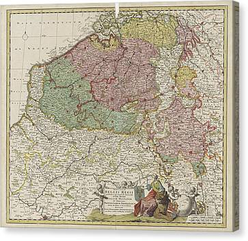 Map Of The Southern Netherlands, Justus Danckerts Canvas Print by Justus Danckerts