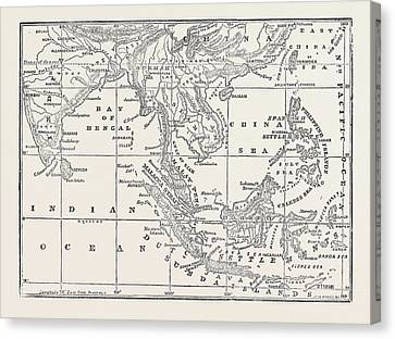 Map Of The Strait Of Malacca 1874 Canvas Print
