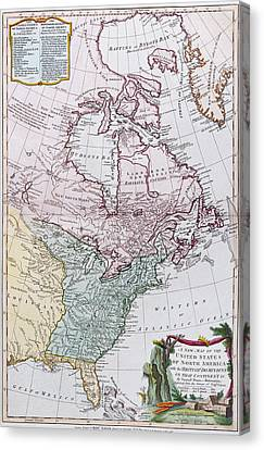 Map Of The Usa And The British Dominions In North America Canvas Print