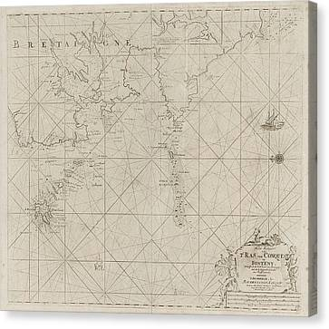 Map Of The West Coast Of Brittany, Anonymous Canvas Print by Anonymous And Claes Jansz Voogt And Johannes Van Keulen (i)