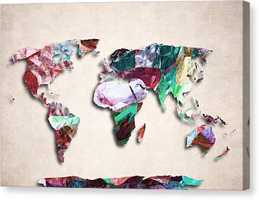 World Map Canvas Print - Map Of The World - Abstract Color Design by World Art Prints And Designs