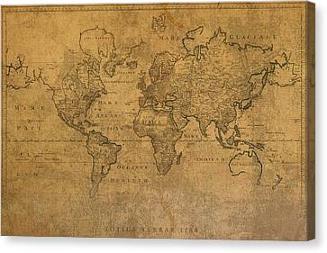 Map Of The World In 1784 Latin Text On Worn Stained Vintage Parchment Canvas Print by Design Turnpike
