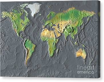 Map Of The World In Relief Canvas Print by Mike Agliolo
