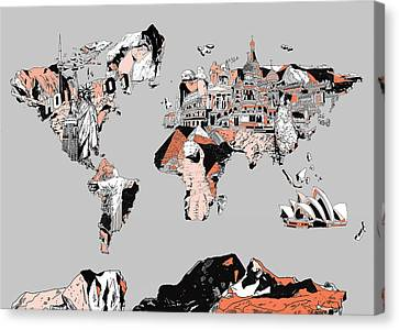 Colosseum Canvas Print - Map Of The World Landmark Collage by Bekim Art
