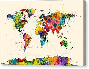 World Map Canvas Print - Map Of The World Map Watercolor by Michael Tompsett