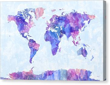 World Map Canvas Print - Map Of The World Map Watercolor Painting by Michael Tompsett