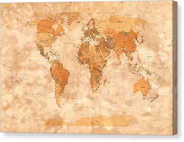 Map Of The World Canvas Print by Michael Tompsett