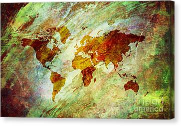 Canvas Print featuring the digital art Map Of The World by Mohamed Elkhamisy