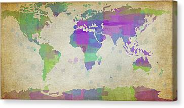 Map Of The World - Plaid Watercolor Splatter Canvas Print