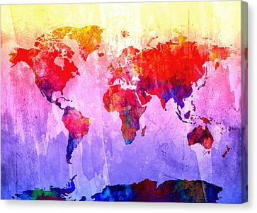 Map Of The World Watercolor 3 Canvas Print