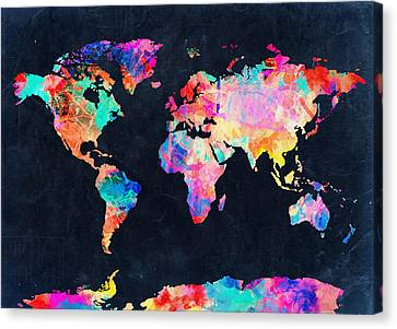 Map Of The World Watercolor 4 Canvas Print