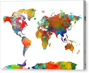 Abstract Digital Canvas Print - Map Of The World Watercolor by Bekim Art