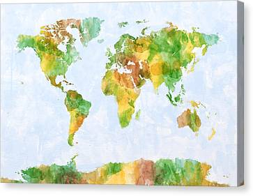 Map Of The World Watercolour Canvas Print by Michael Tompsett