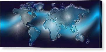 Map Of The World With Blue Trail Canvas Print by Panoramic Images