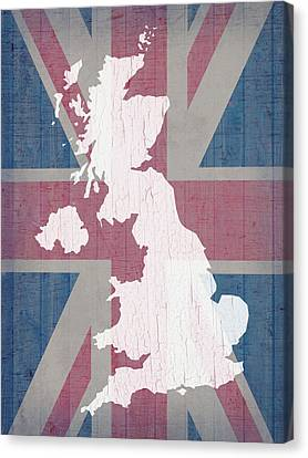 Map Of United Kingdom And Union Jack Flag On Barn Wood Canvas Print by Design Turnpike