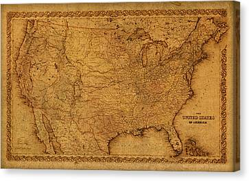 Map Of United States Of America Vintage Schematic Cartography Circa 1855 On Worn Parchment  Canvas Print by Design Turnpike