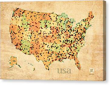 Map Of United States Of America With Crystallized Counties On Worn Parchment Canvas Print by Design Turnpike