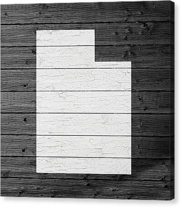 Utah Art Canvas Print - Map Of Utah State Outline White Distressed Paint On Reclaimed Wood Planks by Design Turnpike