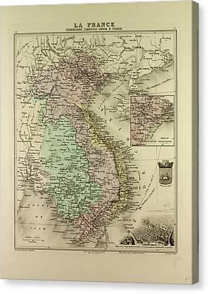 Map Of Vietnam Cambodia Thailand Laos 1896 Canvas Print
