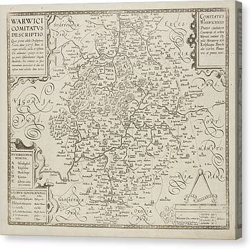 Map Of Warwickshire And Warwick Canvas Print by British Library
