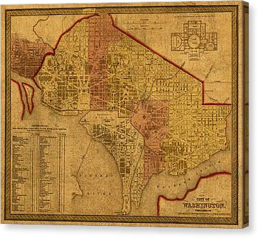 Map Of Washington Dc In 1850 Vintage Old Cartography On Worn Distressed Canvas Canvas Print by Design Turnpike