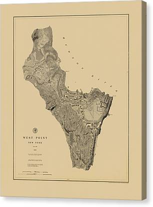Map Of West Point 1883 Canvas Print by Andrew Fare