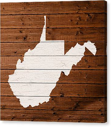 Map Of West Virginia State Outline White Distressed Paint On Reclaimed Wood Planks Canvas Print