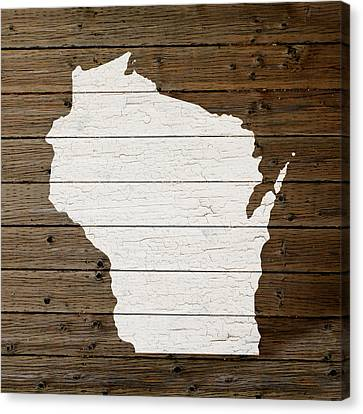 Map Of Wisconsin State Outline White Distressed Paint On Reclaimed Wood Planks Canvas Print