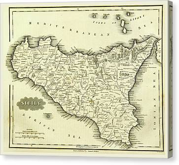 Map Sicily, Italy Canvas Print by Litz Collection