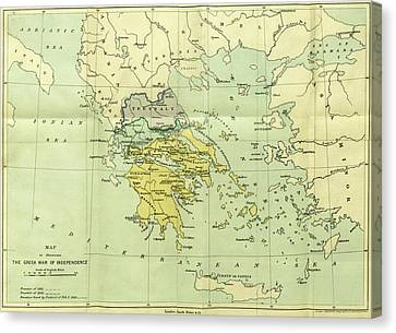 Map, The War Of Greek Independence, 1821 To 1833 Canvas Print by Litz Collection