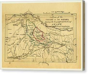 Map Valley Of The Ganges India, Outline Of The Topography Canvas Print by Litz Collection