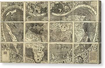 Map Waldseemueller, 1507 Canvas Print by Granger