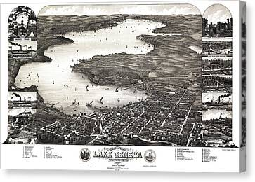 Lake Geneva Wisconsin Canvas Print - Map Wisconsin, 1882 by Granger