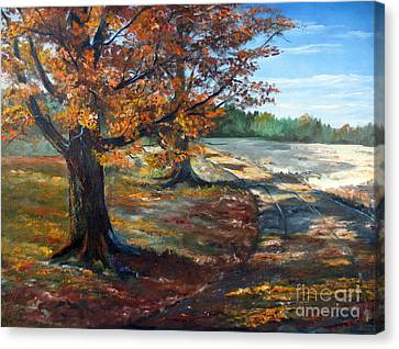 Canvas Print featuring the painting Maple Lane by Lee Piper