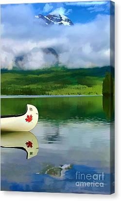 Maple Leaf Canoe On Pyramid Lake Canvas Print by Teresa Zieba